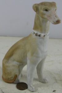 Antique 19th Century 5 1 4 Bisque Whippet Dog Figurine Staffordshire