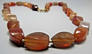 Asian China Chinese Carnelian Agate Rectangular Bead Necklace 26 Long
