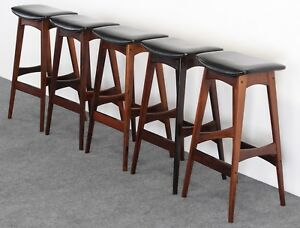 Set Of 5 Johannes Andersen Rosewood Bar Stools 1960s