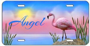 Personalized Custom Monogram Vanity License Plate Flamingo Auto Tag