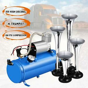 4 Trumpet Chrome Car Truck Train Air Horn W 120 Psi 12v Air Compressor Kit Set
