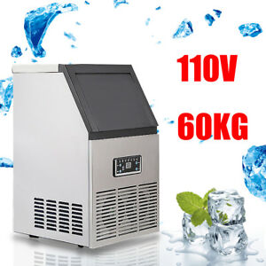 130lbs 60kg Auto Commercial Ice Cube Maker Machine Stainless Steel Bar 110v 230w