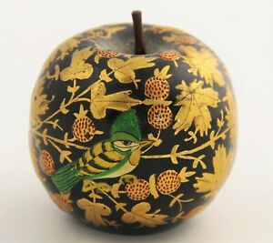 Vintage Hand Painted Lacquered Wood Apple Gold Foliage Bird Design