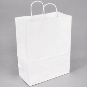 250pcs White Shopping Paper Bag 10 X 5 X 13 250 Bags 60