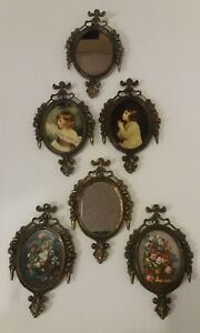 Vintage Victorian Metal Oval Picture Frames Floral Girls Made In Italy Set Of 6