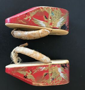 Antique Japanese Wooden Lacquer Maiko Geisha Geta Sandal Shoes Authentic 6 5