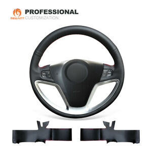 Custom Black Genuine Leather Steering Wheel Cover Fit For Opel Antara 2007 2011