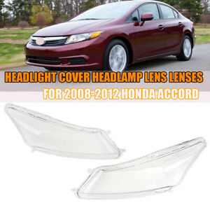 Pair Headlight Cover Headlamp Lens Lenses For 2008 2012 Honda Accord New