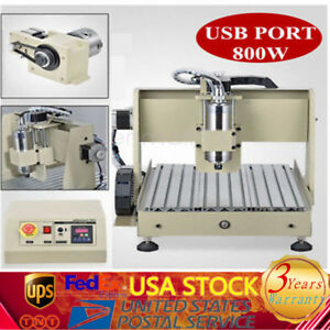 4axis 3040 Usb Cnc Router Eengraver 3d Engraving Drilling Machine 800w Us Ship