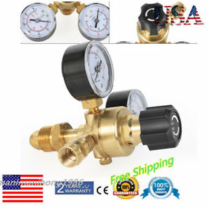 2 Dual Gauges Pressure Reducer Mig Flow Meter Control Valve Welding Re