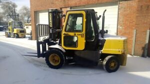 Daewoo D45s 8500lbs Forklift Pneumatic Tires 3 Stage Mast ss 6 Cyl Diesel Cab