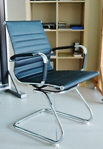 New Black Charles Eames Style Ribbed Reception Meeting Conference Office Chair