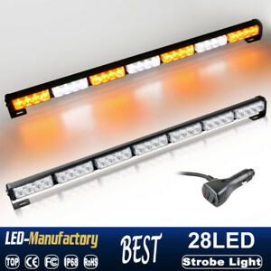 31 28 Led Strobe Lights Bar Amber White Emergency Warning Traffic Advisor Lamp