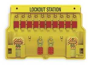 Lockout Station filled 10 Padlocks Master Lock 1483bp1106