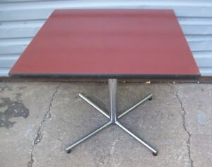 Restaurant Equipment 35 Square Table Top With Chrome Base Sienna Brown Top