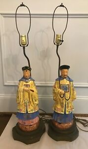 Antique Pair Of Hollywood Regency Style Asian Figure Table Lamps