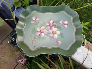 Vintage Hand Painted Green Floral Toleware Serving Tray Pink Dogwood 17 X 13