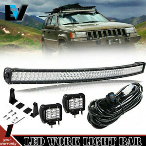 50 Curved Led Light Bar Offroad 4 Pods Cube 1993 1998 Jeep Grand Cherokee Zj