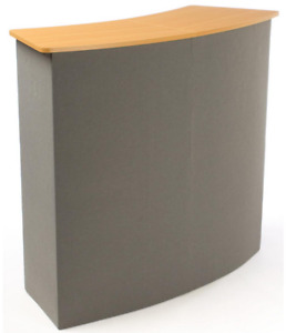 43 Portable Gray Hook Loop Fabric Trade Show Booth Counter W Shelves