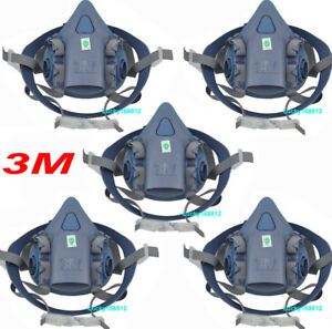 5pack 3m 7502 Silicone Half Face Respirator Painting Spraying Face Gas Mask M