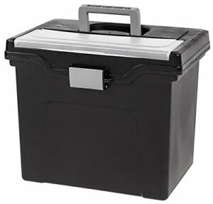Iris Letter Size Portable File Box With Organizer Lid 4 Pack Black