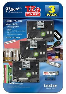 Brother P touch White Laminated Label Maker Tape 3 Pack Two 12mm