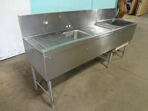 perlick Commercial H d bar Station W cold Plate Ice Bin wash Sink Drain Board