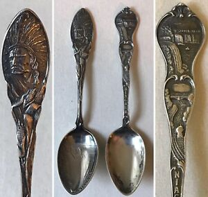 2 Antique Niagara Falls Sterling Spoons Native American Chief 1 Howard Sterling