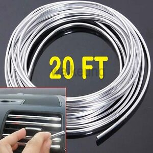 20ft Chrome Moulding Trim Strip Car Door Edge Scratch Guard Protector Cover Mold