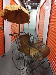 Victorian Gendron Baby Carriage Wicker Stroller Buggy Umbrela 1800 S 19th