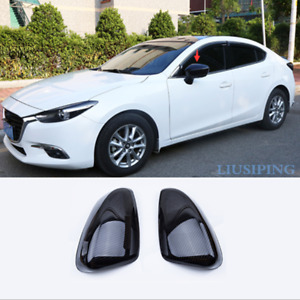 Abs Carbon Fiber Side Mirrors Rearview Trim Cove For Mazda 3 Axela 2017 2018