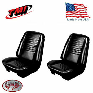 1967 Chevelle Coupe Black Bucket Seat Rear Bench Upholstery By Tmi In Stock