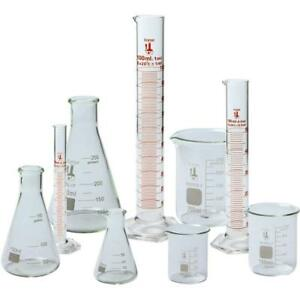 Beaker Flask And Cylinder Set 3 3 Boro Glass 9 Pieces Karter Scientific