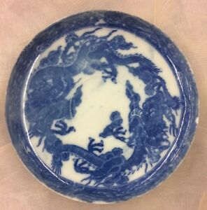 Guangxu Blue And White Very Fine Thin Porcelain Dish Plate With Dragons 5 1 2