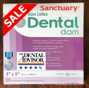 5 Boxes 75 Pcs Non Latex Sanctuary Dental Rubber Dam 5x5 Medium Sheet Mint 15 pk