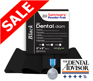 5 Box 180 Sheet Black Sanctuary Latex Dental Dam Rubber 6x6 Medium Mint 36 pk