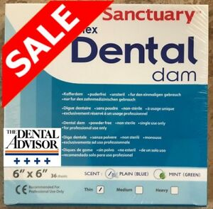 5 Box 180 Sheet Sanctuary Dental Rubber Dam Latex 6x6 Thin Blue 36 pk onsale