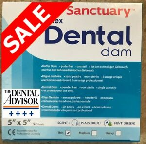 5 Box 260 Pcs Sanctuary Dental Rubber Dam Latex 5x5 Thin Mint Green 52 pk Sheets