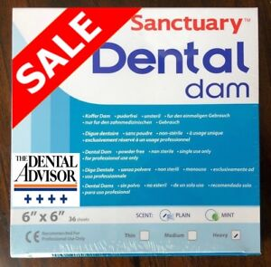 5 Boxes 180 Pcs Sanctuary Dental Rubber Dam Latex 6x6 Sheet Heavy Blue 36 pk