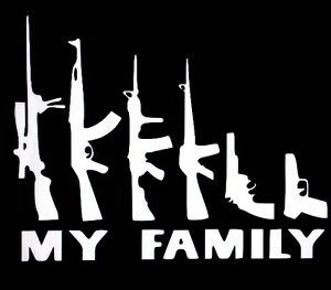 My Family Rifle Gun Sticker Vinyl Decal 2nd Amendment Window Car Truck Funny