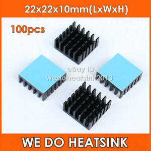 100pcs Black Slot Radiator 22 22 10mm Heat Sink With Thermal Pad For Cpu Ic Vga