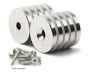 10 Pack Strong Countersunk Ring Magnets 1 Inch Large Rare Earth Neodymium