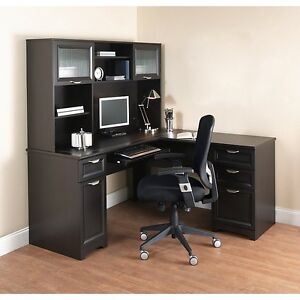 New L shaped Office Desk With Hutch Computer Executive Corner Table Furniture Bk