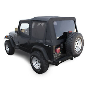Jeep Wrangler Yj Soft Top 88 95 Black Denim Tinted Windows Upper Doors