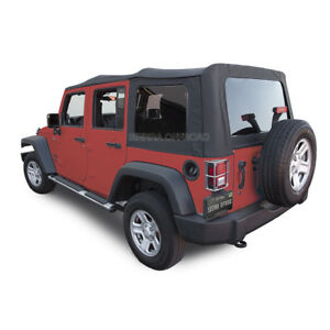 2007 2009 Jeep Wrangler 4 Dr Jk Soft Top Black Sailcloth