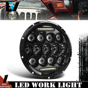Motorcycle 7 Halo Drl Led Round Headlight Sealed Beam Projector Bulb For Harley