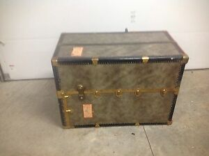 Antique Vintage Seward Steamer Wardrobe Trunk S S Constitution Ship Tag
