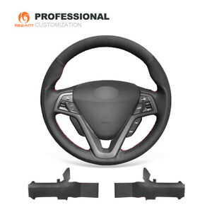 Top Black Soft Suede Leather Steering Wheel Cover For Hyundai Veloster 2011 2018