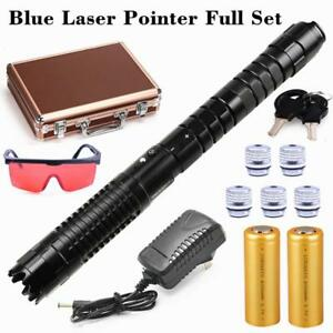 Most Powerful Blue Laser Pointer Focusable Laser Pen Torch Burning Match 2x26650