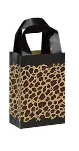100 Wholesale Small Leopard Print Frosted Plastic Shopping Bags